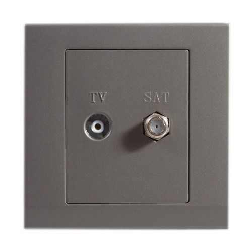 Simplicity Grey Screwless Double Coaxial TV + Satellite Socket 07622